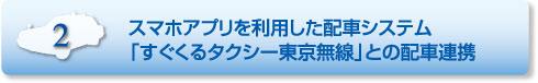 特長2.スマホアプリを利用した配車システム「すぐくるタクシー東京無線」との配車連携
